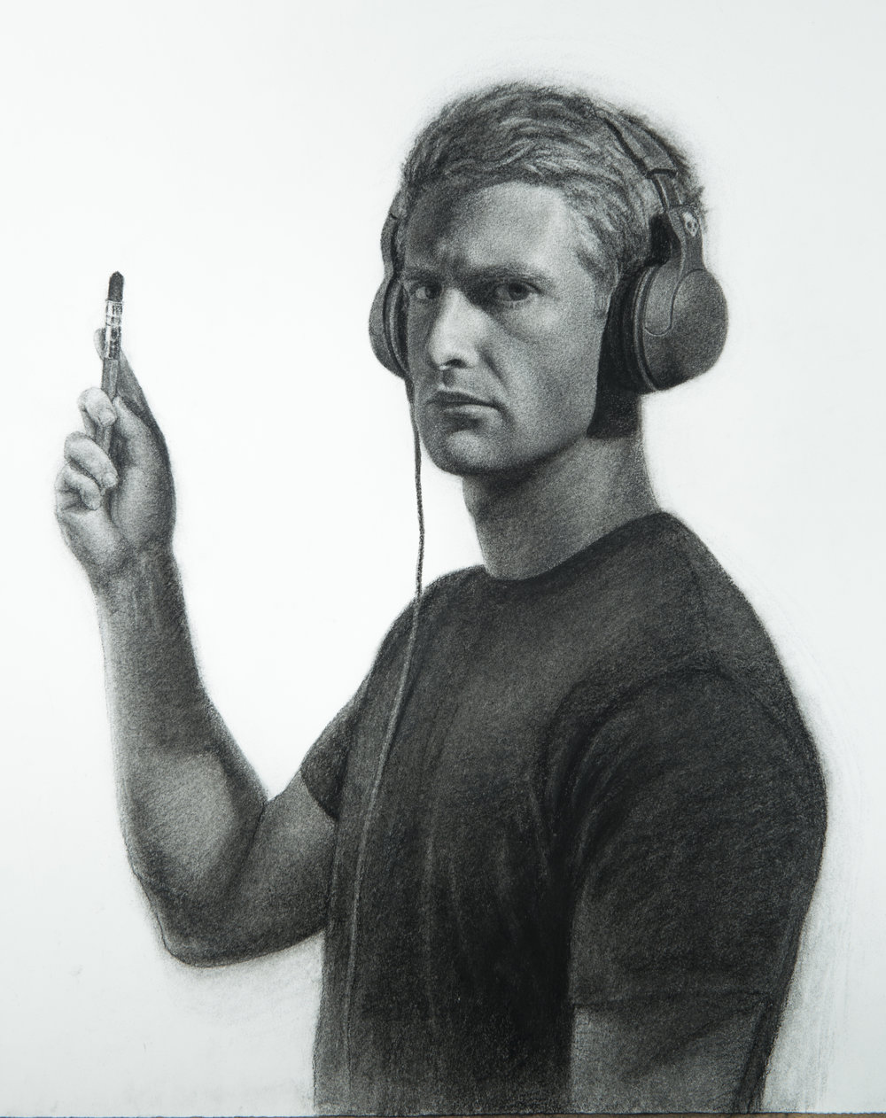 'Self Portrait with Headphones'  12''x12''  Charcoal on paper  2014