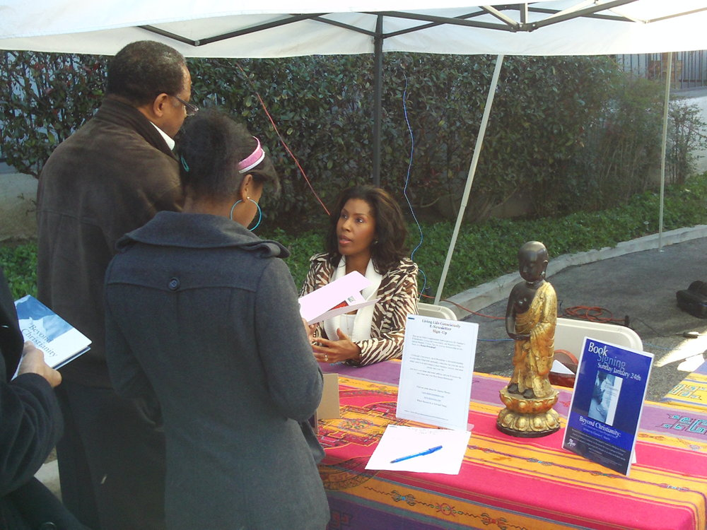 My Book signing at Agape International Spiritual Center in Los Angeles.  Visitors joined me after my talk on my first book,Beyond Christianity: African Americans In A New Thought Church
