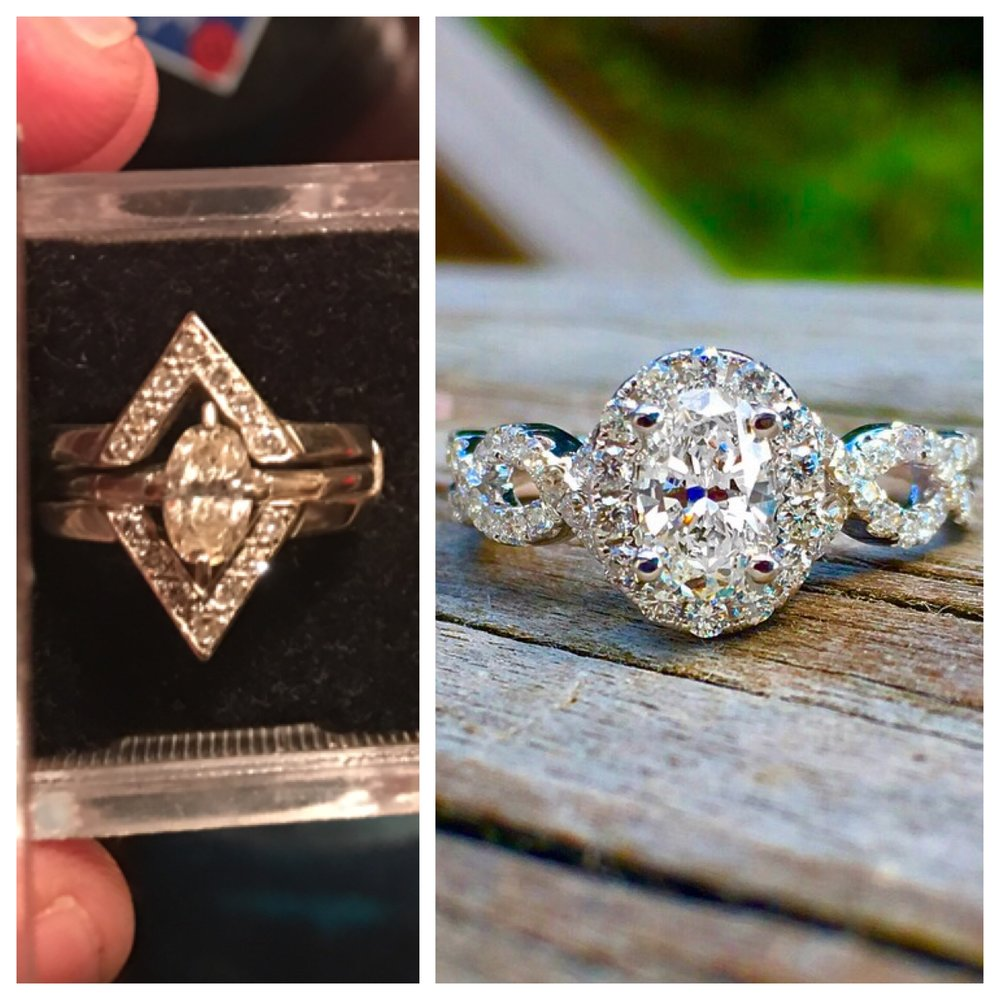 bezel pin unique centering is into with earrings feminine deco platinum lovely dream ring engagement a vintage and an halo mine cut diamond hollicombe set old repurposed art rings