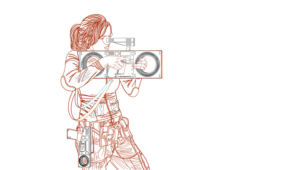 I set two cameras up in Rhino to match the view as best I could - it's always tricky when matching a render to a sketch. Here can see she is wearing the handgun while she is using the CWS Riot Gun ...