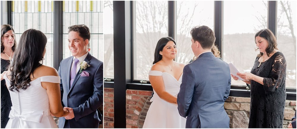 bride and groom hold hands during their intimate wedding ceremony in northern New Jersey, elopement