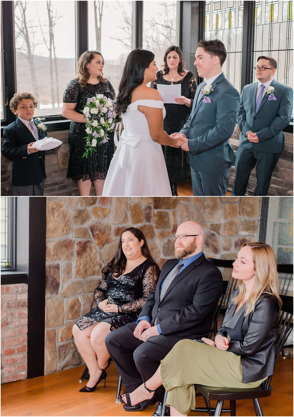 bride and groom exchanging vows as their friends watch during their intimate wedding ceremony, elopement