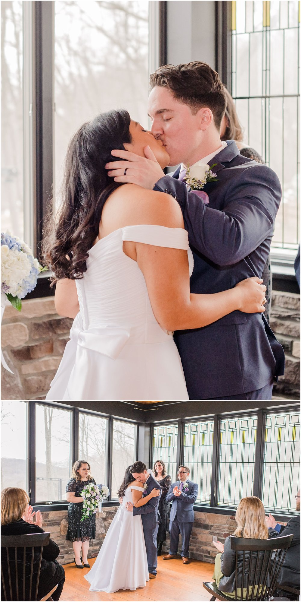 bride and groom kiss for the first time as husband and wife as their guests clap for their intimate wedding ceremony, NJ elopement