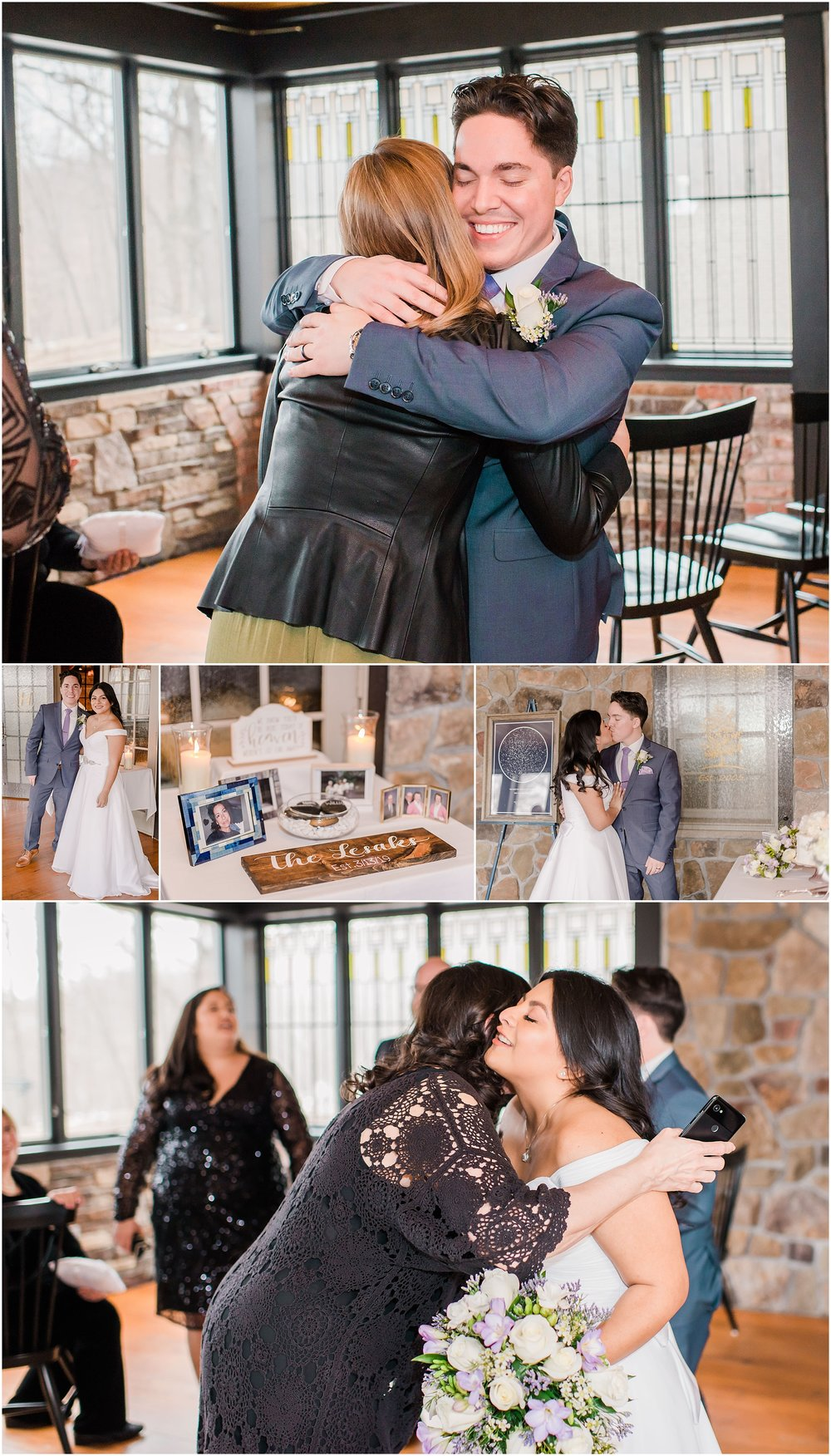 bride and groom hug their friends after their intimate wedding ceremony, elopement