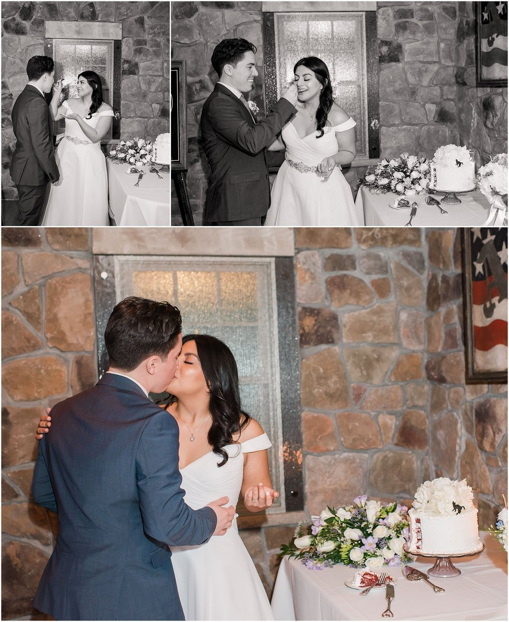 intimate wedding ceremony where husband and wife cut their cake and share a kiss for their elopement