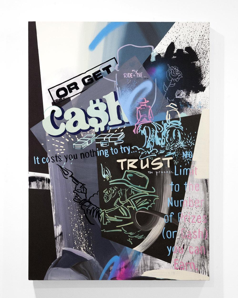 "Dan Hampe - ""Cash""  Oil, Enamel, Spray Paint on Canvas. 60 x 36 Inches. 2018."