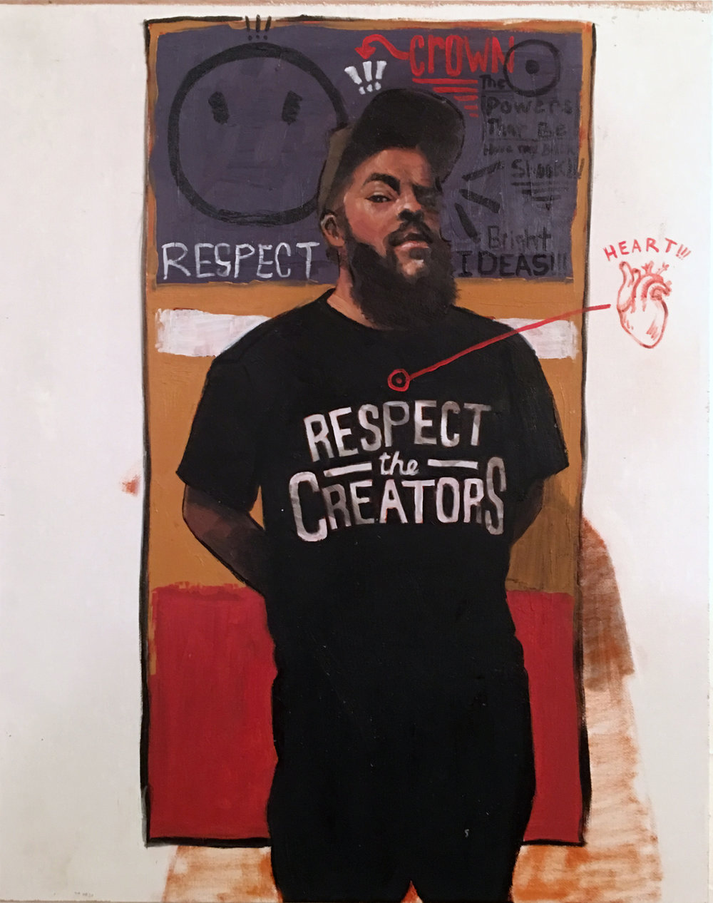 """Riley Holloway  """"Respect""""  Oil on Canvas. 20 x 16 Inches. 2019."""