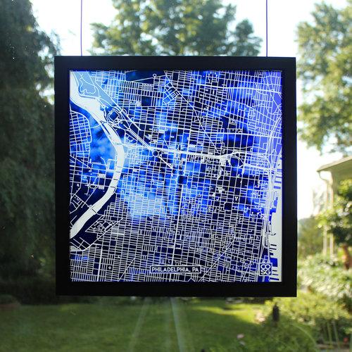 Glass Map of Philadelphia PA, Philadelphia Map Gift — Cooper O\'neil ...