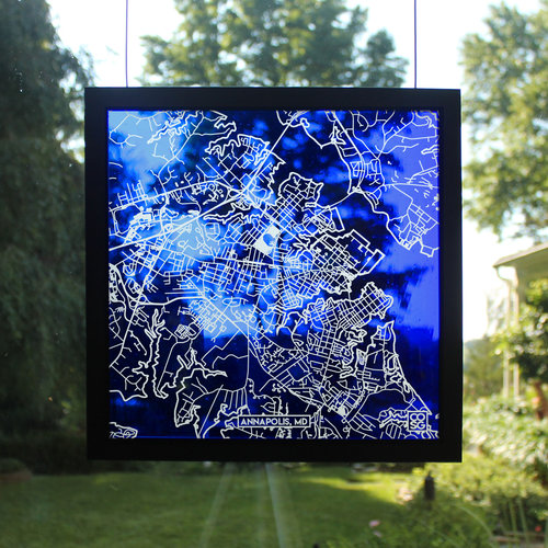 Annapolis, MD, Glass Map — Cooper O\'neil Stained Glass
