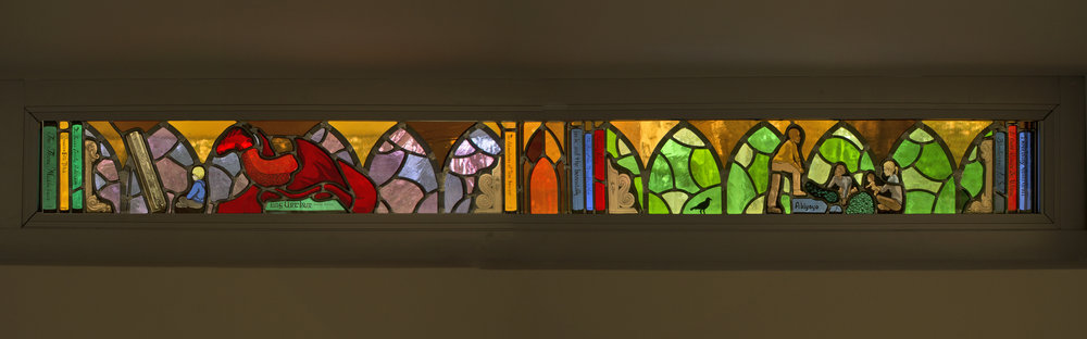 "Panel 2 of ""Explore"", a 17' long frieze of windows at Lovett Library in Mt Airy, Philadelphia, PA."