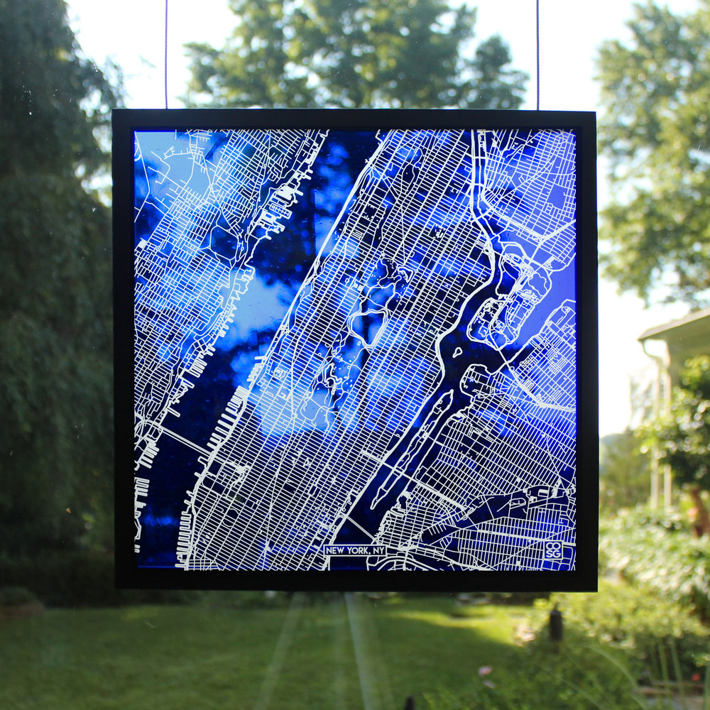 New York Street Maps - Carved into Stained Glass