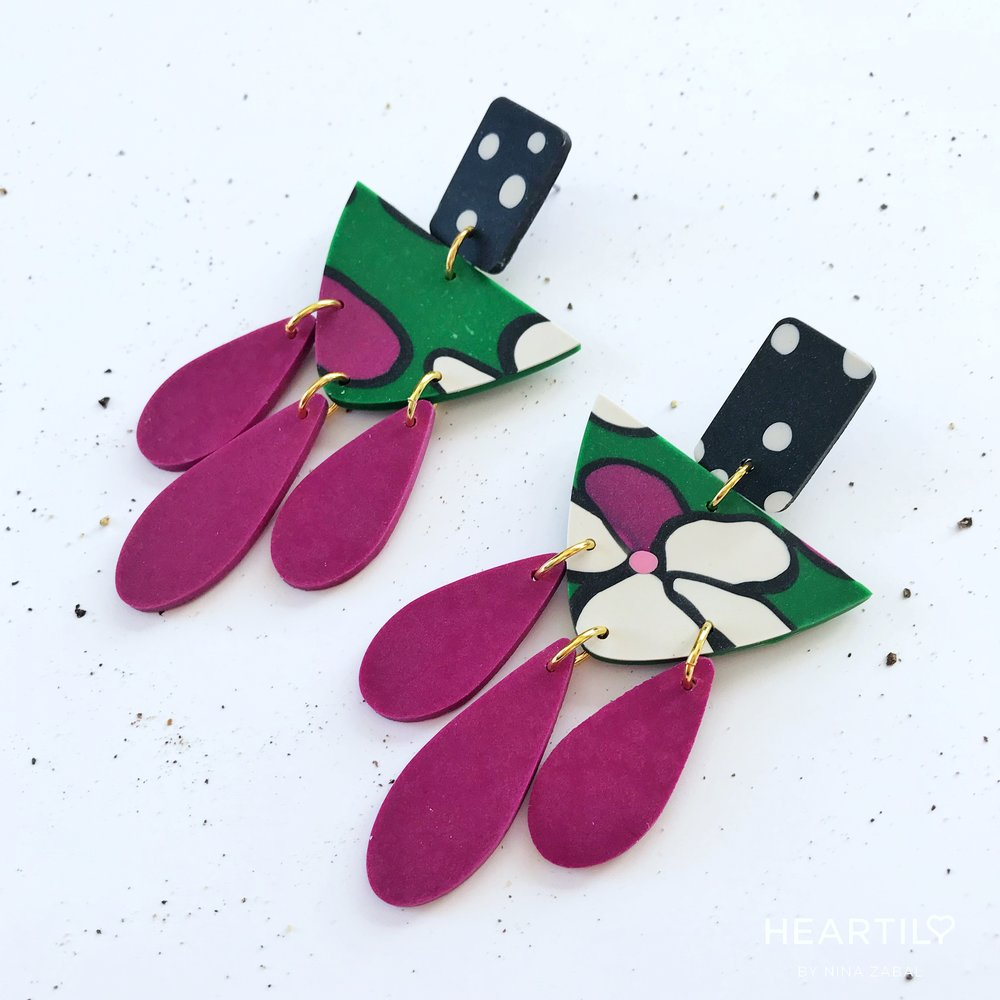 HEARTILY Malena Floral Collection    GREEN / MAGENTA / BLACK / IVORY