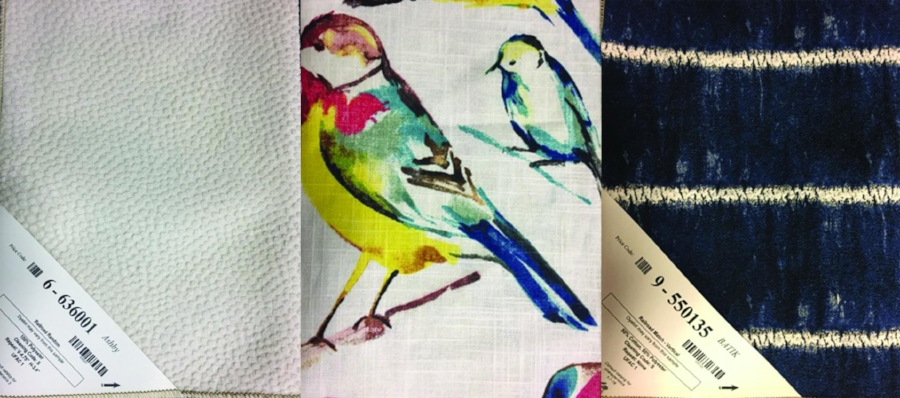 Here we started with our favorite bird fabric, added a repeating striped pattern in a blue tone to pull out the bird's color. Our small pattern accent is a neutral cream with a pin dot, soft texture.