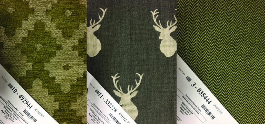 First fabric choice in this group was the deer head pattern. We considered this an organic pattern related to nature. Added to that was the geometric repeating pattern on the left side. Lastly, a small-scale pattern on the right which is subtle enough to blend in nicely.