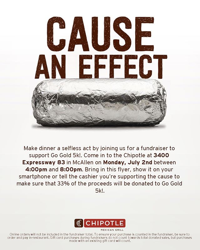 SAVE THE DATE!! @chipotle will be hosting a fundraiser night on July 2nd for the #GoGold5KAndKids1K🎗 The event will take place from 4-8pm. We ask that you please let the cashier know that you are there for the 5k fundraiser when paying for your order. Thank you in advance! We look forward to seeing you 😊