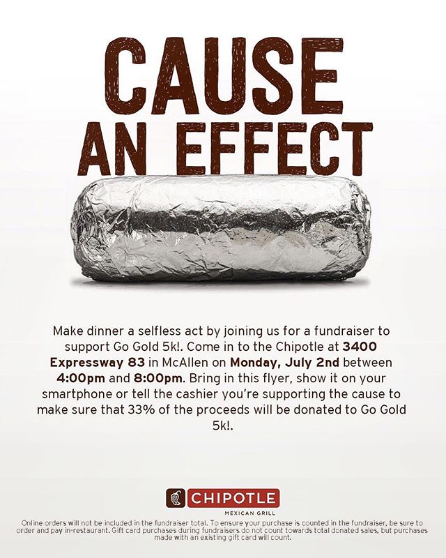 Just a friendly reminder that @chipotle will be hosting a fundraiser TODAY from 4-8pm for the #GoGold5KAndKids1K🎗  We ask that you please let the cashier know that you are there for the 5k fundraiser when paying for your order. Thank you in advance! We look forward to seeing you 😊