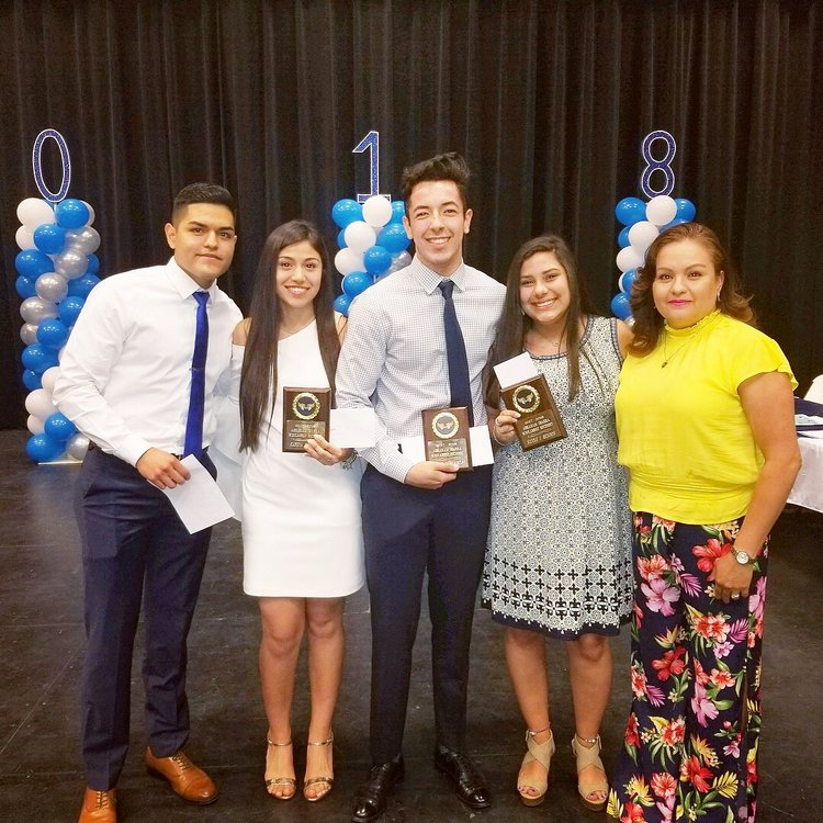- 2018 Aspire by Abraham Scholarship recipients of $1,000 were Karyna Lozano, Alek Garza, Nicole Rendon, and Nyla Vela (not pictured).