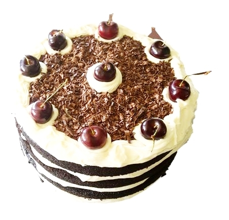 "BLACK FOREST A classic combo of dark chocolate, cherries, cream cheese frosting and *cherry liquor. Can be made non-alcoholic upon request. 4"" ($25), 6"" ($35), 8"" ($50), 10"" ($65), 12 Cupcakes ($30)"