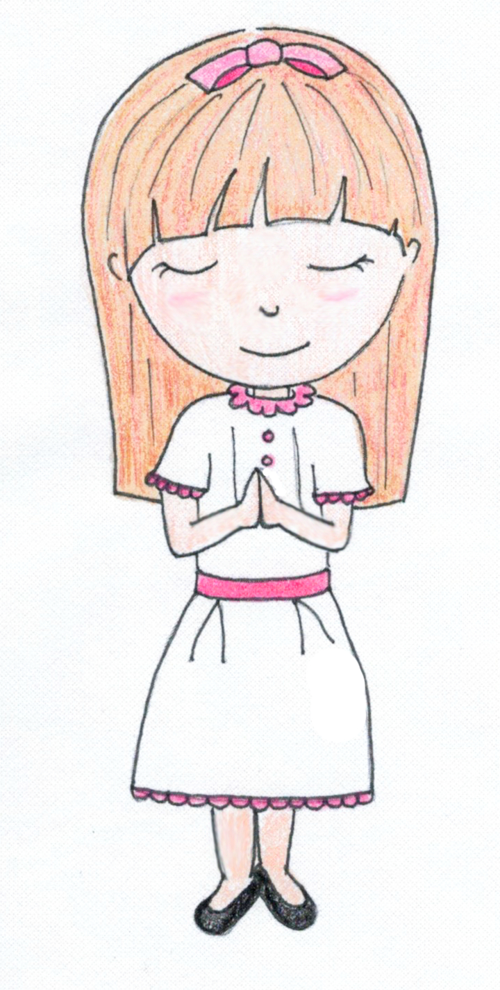 Praying Girl - Standing   Personalize the hair style and color, and dress accent color.