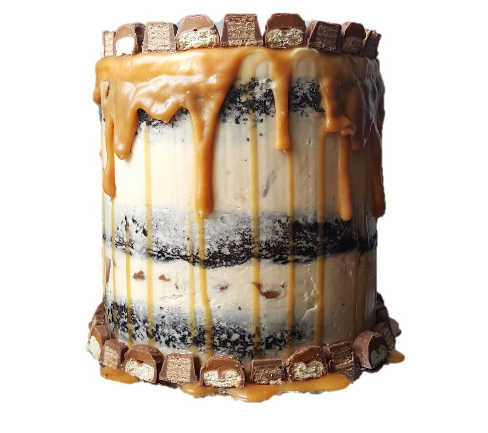 "CARAMEL CALAMITY   Our beloved dark chocolate cake with layers of caramel buttercream stuffed with Twix and Kit Kat. Naked buttercream finish with caramel drip.   6"" - £30 / 8"" - £45/ 10"" - £60 / 12"" - £75"