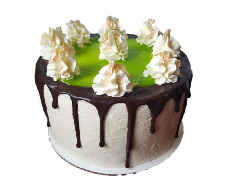 "TROPICAL PARADISE   Coconut sponge & buttercream with spikes of tart lime curd. Drizzled in dark chocolate.   6"" - £30 / 8"" - £45/ 10"" - £60 / 12"" - £75"