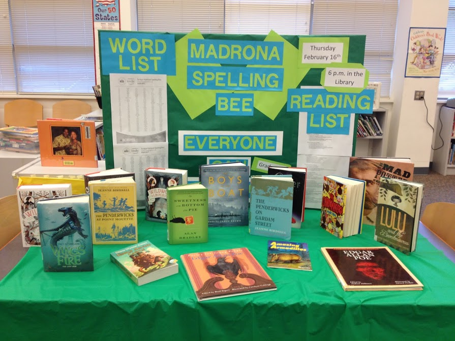 Scripps Spelling Bee - Madrona PTSA hosted our school's 2nd Annual Scripp's Spelling Bee on Thursday, March 1st, 2017.  The Spelling Bee was open to all 1st through 5th graders who wanted to participate.  The winner went on to the Regional Bee on March 25th.In addition to the Spelling Bee, we also participated in the Great American Spell Check Fundraiser, which took place on February 15th. Teachers worked with students to learn 50 spelling words (or sight words for Kinders). Students collected pledges from friends and family for every word spelled correctly.  The classes with the most words spelled correctly and the most pledges collected also won an ice cream party!