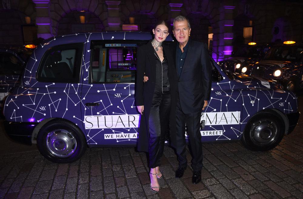 Mario Testino and Gigi Hadid with RJ Raizk taxi, 2017