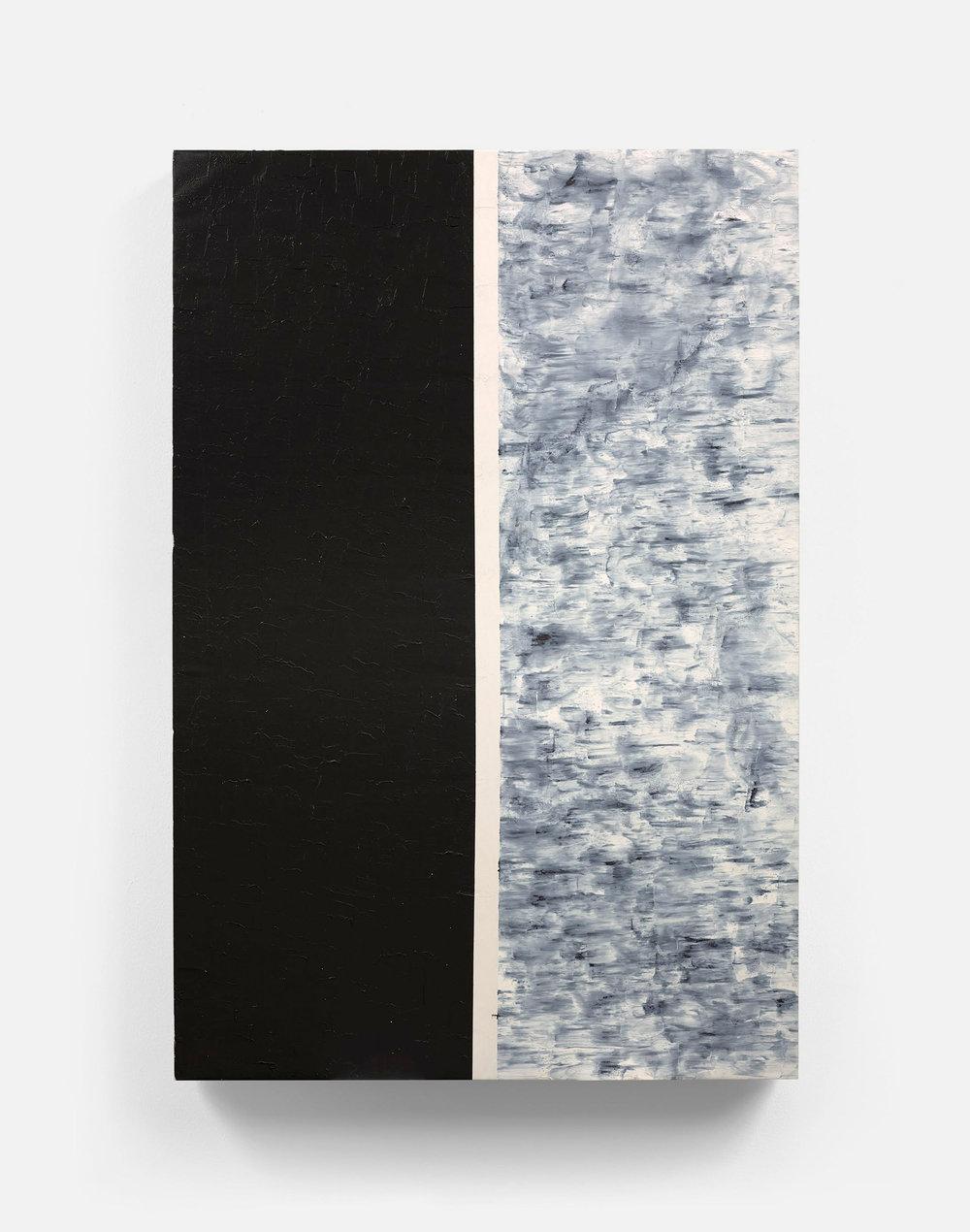 "48' x 72""  black pigment, black acrylic, white acrylic"