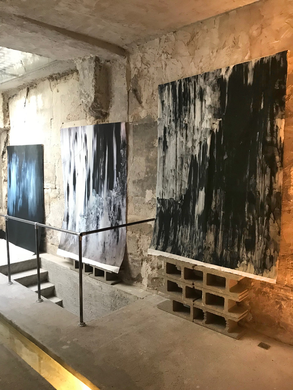 Paintings digitally printed on fabric  150 cm x 200 cm (each)  LUCID INTERVAL / 94 Rue Quincampoix, Paris, France
