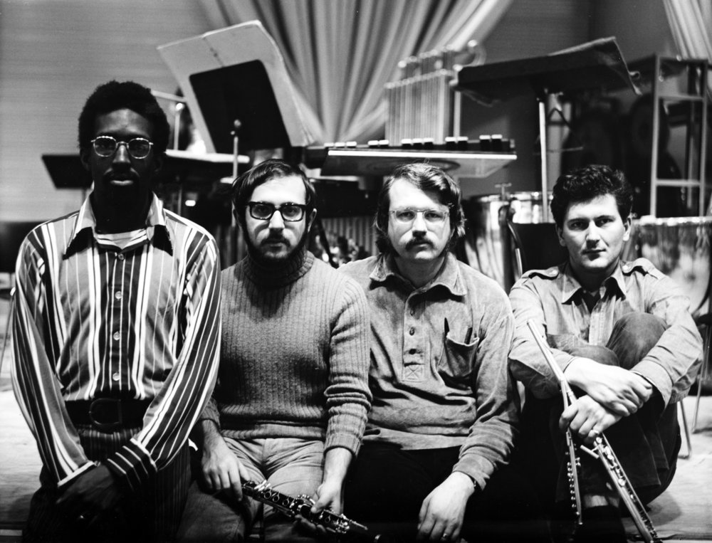 S.E.M. Ensemble: Julius Eastman, Roberto Laneri, Jan Williams, and Petr Kotk. Photo by Jim Tuttle