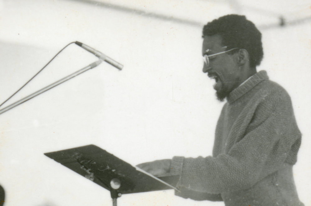 Julius Eastman performing at the Knox Albright Gallery May 5, 1973. photograph by Edward Kirstein