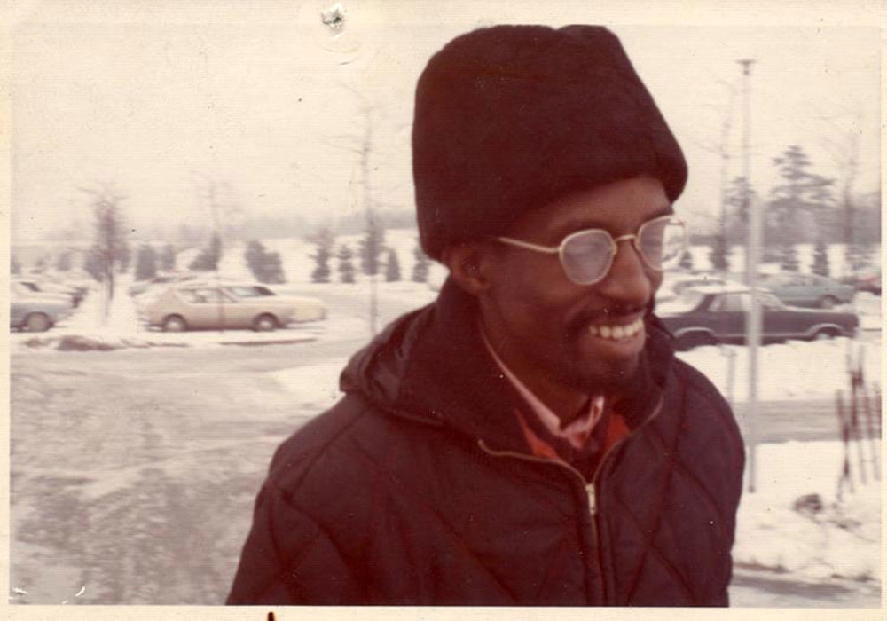 Julius Eastman in the parking lot of Baird Hall, Buffalo c. 1970.  Photographer unknown.