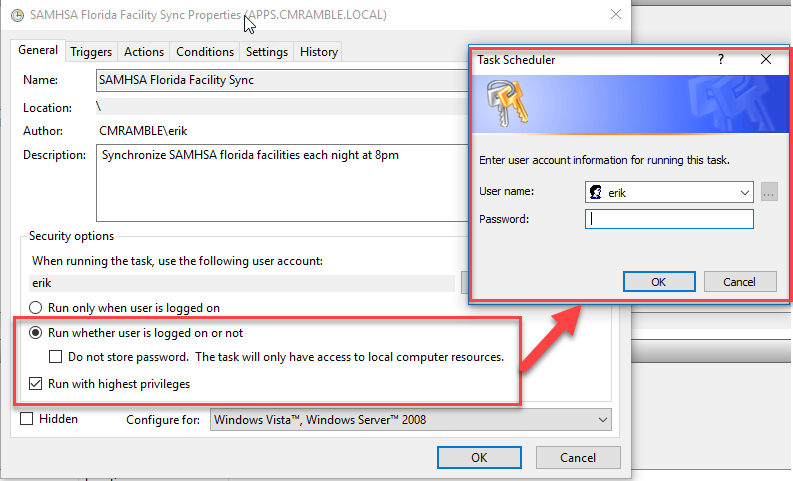 Task Properties - Security Options and Credentials