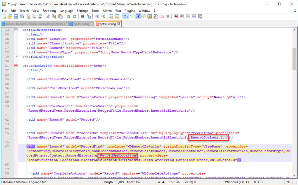Note that this is the webdrawer configuration file of a remote server