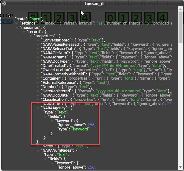 Elasticsearch Head Information Window for CM Index