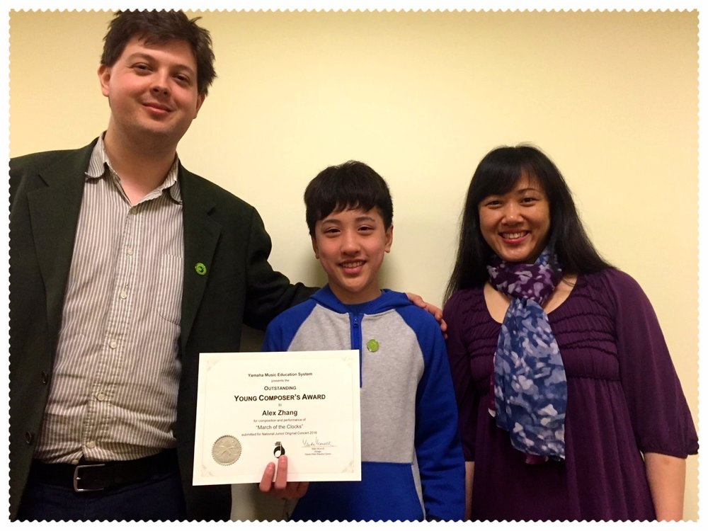 Alex Zhang, YMS Boston Student - awarded Outstanding composition in the JOC program, 2016
