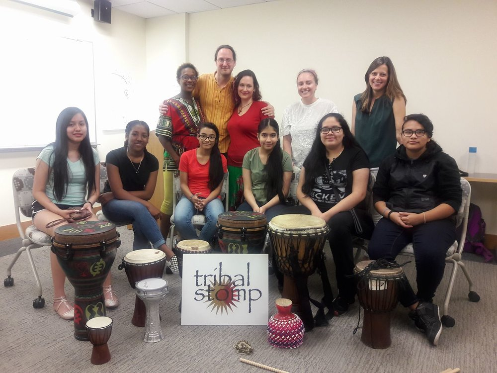 A Drum outreach workshop for the penedo organization hosted by the education and counseling center at depaul university.