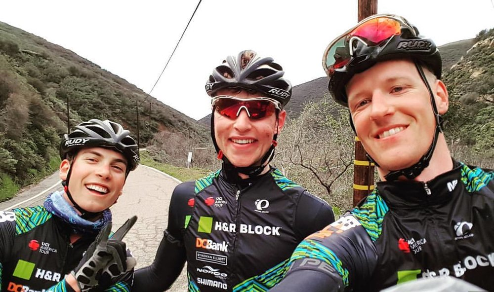Cali with Chris Prendergast (middle) and team mate Jure.