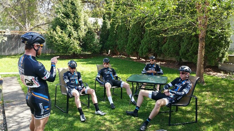 Team chat pre Criterium at Walla Walla.