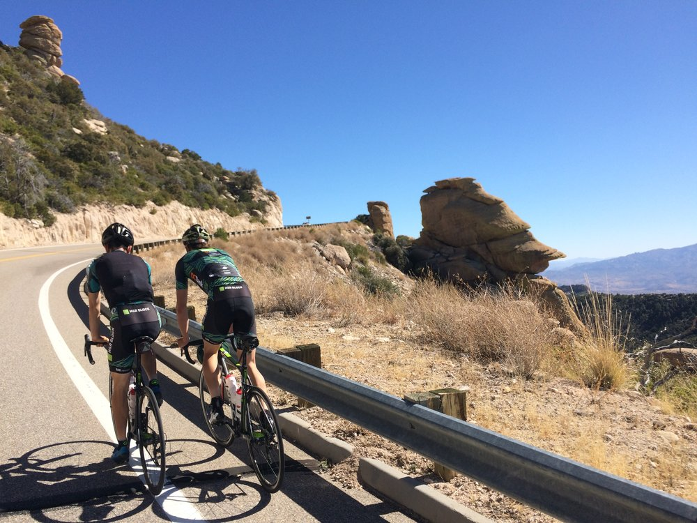Following Conor (left) and MA up Mount Lemmon.