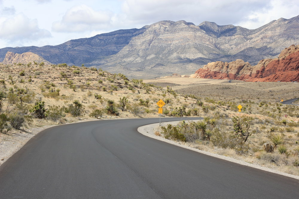 An immaculate road in Red Rock Canyon.