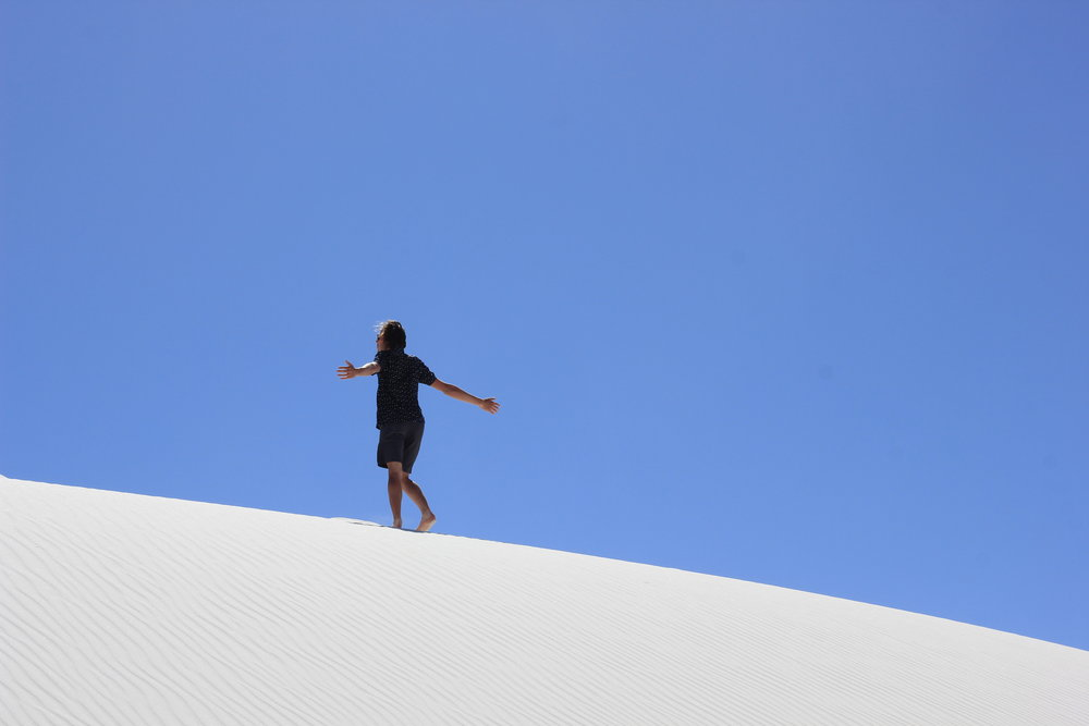 I took a break the other day and drove to White Sands with my friend, Jenna. She took this photo.