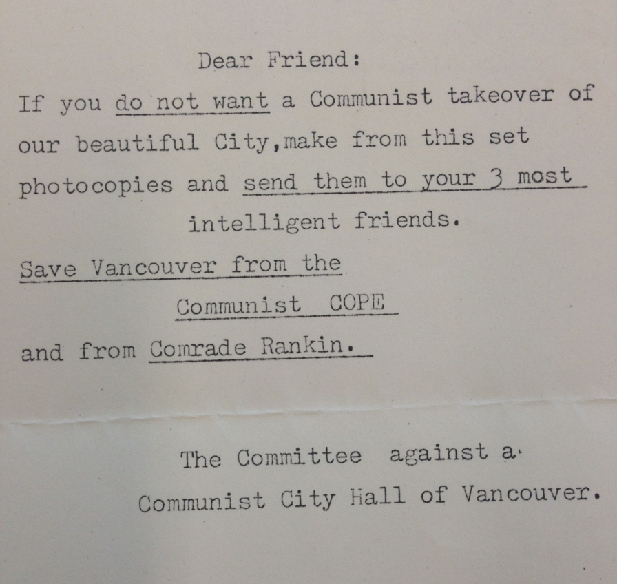 "Above: a photo I took of a randomly distributed note warning potential voters of ""comrade Rankin"" from the 1986 mayoral election. Source: Vancouver City Archives"