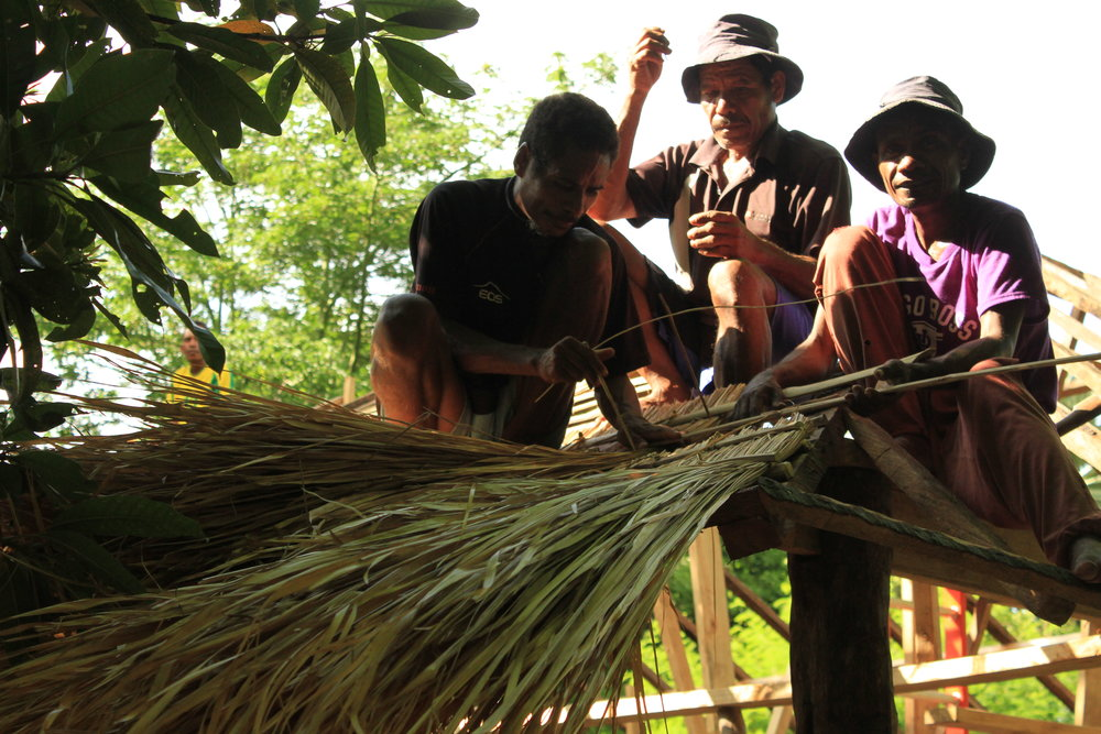 Traditional Timorese roofing method.