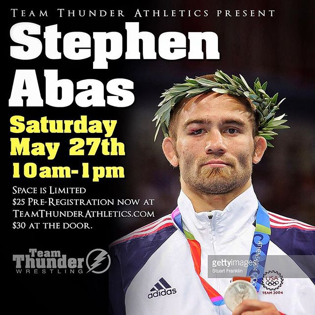 Super excited to have California legend and innovator Stephen Abas at the Team Thunder Champions Factory this Saturday!  Stephen will be sharing with us the creative movements and techniques that helped him to become one of the most decorated wrestlers in California history.  3x California High School state champ 3x NCAA champ 3x World Cup champ 5th 2003 worlds 2004 Olympic silver medalist  You don't want to miss out on this great opportunity to learn from one of the very best in US wrestling history.  Preregister online now for $25 at www.TeamThunderAthletics.com/clinics or pay $30 at the door. Space is first come first serve.  Looking forward to seeing you this weekend! ------- The Team Thunder Athletics Spring Semester clinic series is our effort to bring some of the very best wrestling talent in the world and make their philosophy, training methods, and world-renowned skillset available to the grapplers of Southern California. Come join us as we study winning techniques from some of the most accomplished wrestlers in America at the Team Thunder Athletics Champions Factory!! The instructional seminar goes from 10 AM to 1PM on Saturdays, followed by an hour of live wrestling after the seminar is complete.  The price is $25 pre-registration online, or $30 at the door on the day of the event.  Space is limited and we are on a first come, first serve basis. Please head to www.TeamThunderAthletics.com/clinics to secure your space now for this weekend's clinic.
