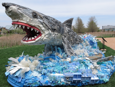 Greta the Great White Shark, a sculpture made entirely of plastic trash. Credit: © WashedAshore.org