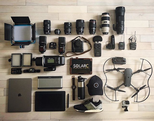 Tools of the trade...just a glimpse of some of our gear! Check out our first #flatlay #videoproduction #photography #film #gear