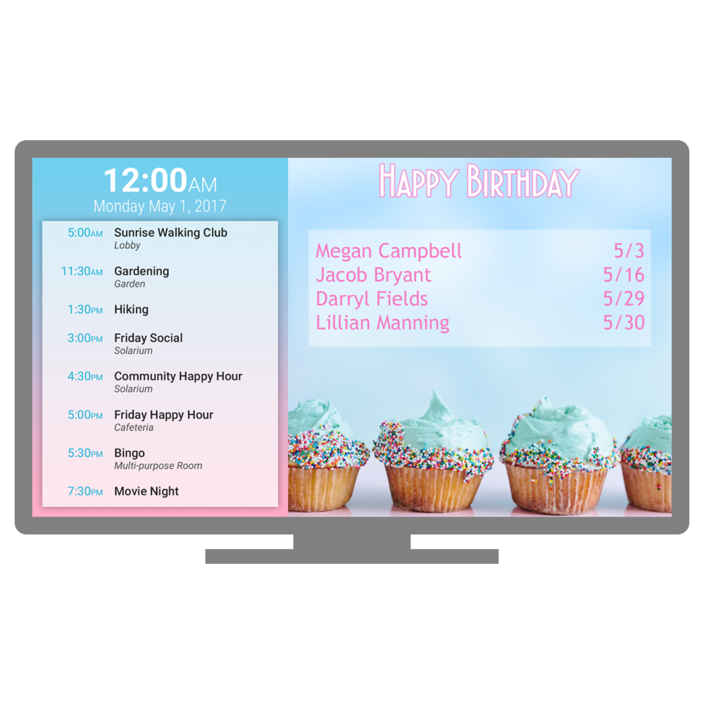 Sagely TV digital signage solution promotes resident activity and engagement