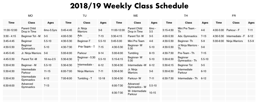 *PEAK elite Gymnastics Academy Fall 2018 Schedule