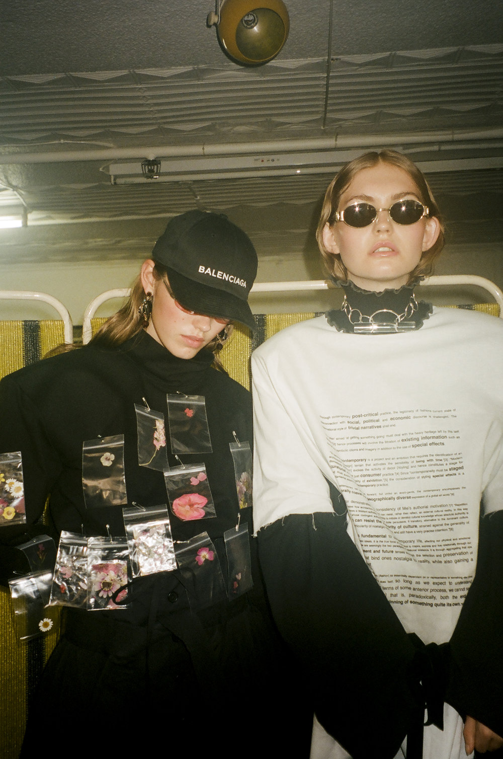 Kymberley (right) wears Samantha Diorio & Jake Paraskeva 'Manifesto' T-shirt